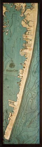 "OCEAN CITY MD 13.5/"" x 43/"" New Laser-Cut 3-Dimen Wood Chart Lake Art Map"