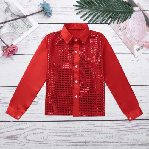 Kid Boys Glittery Sequined Vest Shirt Party Costume Hip-hop Jazz Dance Waistcoat