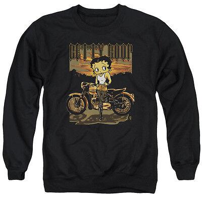 BETTY BOOP BORN TO RIDE Licensed Adult Pullover Crewneck Sweatshirt SM-3XL