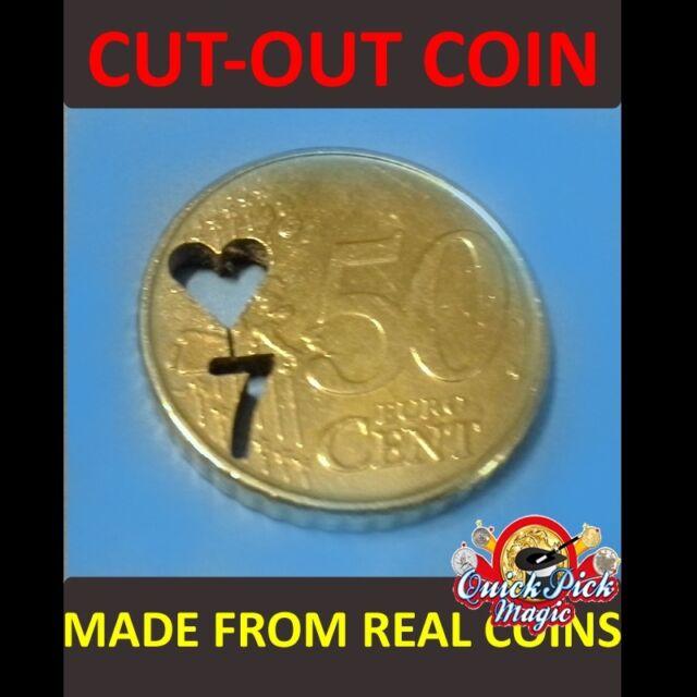Magico Primo Piano Trucco di Magia Euro Espanso Moneta Shell 50c