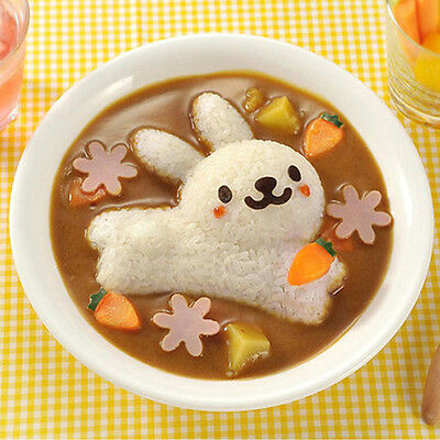 Kitchen Cute Rabbit & Dolphin Sushi Maker Rice Onigiri Mold Mould Punch DIY 4Pcs