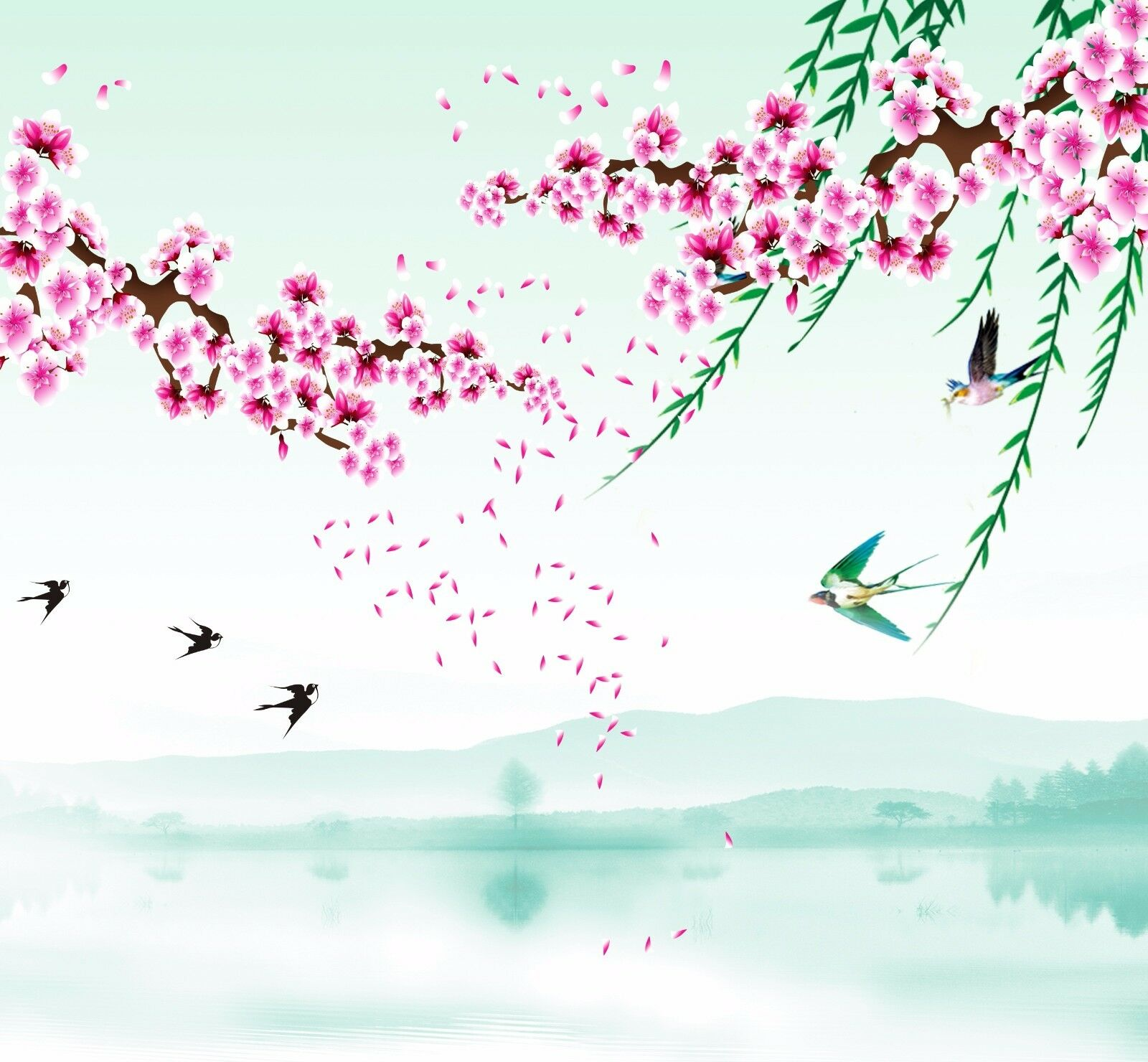 3D Flying Flowers And Birds Paper Wall Print Wall Decal Wall Deco Indoor Murals