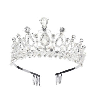 Tiara-Hair-Comb-Clear-Rhinestone-Crown-Girl-Headband-Bridal-Pageant-Party-w-Comb