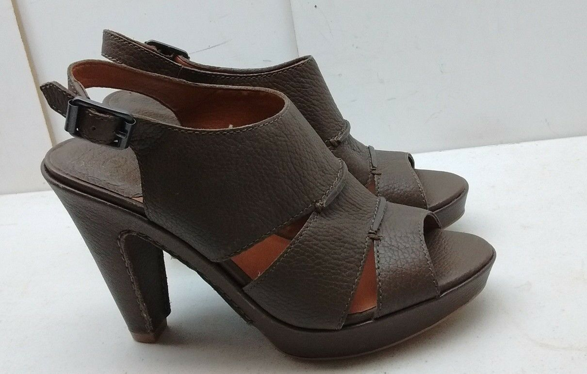 Lucky Brand Peggy donna Marronee Leather Slingback High Heel Sandal scarpe 5.5M 36.5