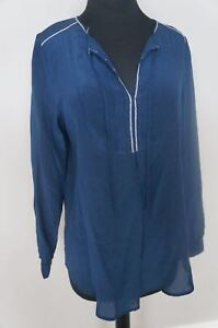 NEW-4-Love-amp-Liberty-Johnny-Was-Silk-Pintuck-Keyhole-Top-Blouse-Tunic-S-Navy