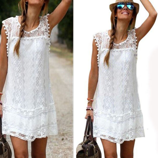 Women Summer Casual Sexy Lace Sleeveless Party Evening Cocktail Beach Mini Dress