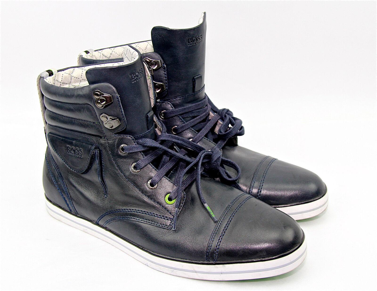 Hugo Boss verde Label Barret Cuero botas Zapatos Zapatillas Nueva Us 43 de la UE
