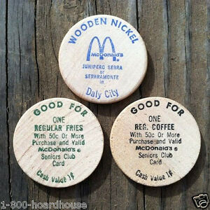 3-Vintage-Original-Old-1970s-MCDONALDS-RESTAURANT-Wooden-Nickel-Coin-Toys