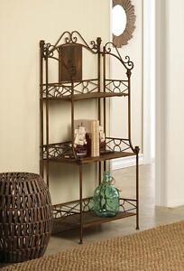Bronze Metal Amp Brown Wood 3 Shelf Folding Plant Stand