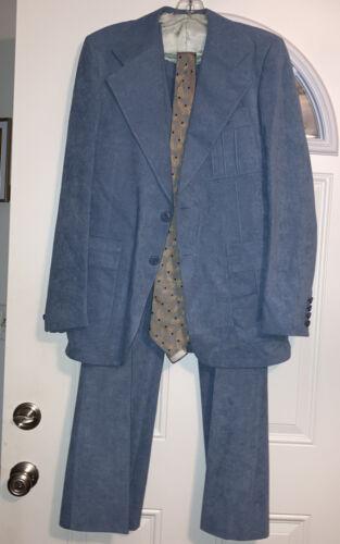 Vtg 3 Piece Suit bell bottom Pants Blue Faux Suede