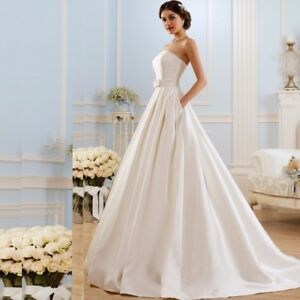 Details about Satin Cheap Wedding Dresses under $100 Plus Size Bridal Gowns  with Pockets