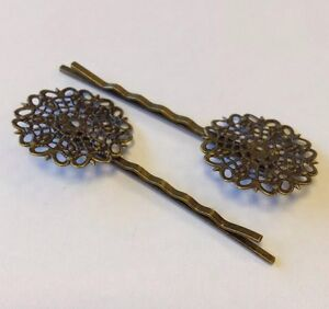 Bronze-Tone-Flower-Bobby-Pins-Hair-Clips-6-4x2-5cm-x-2