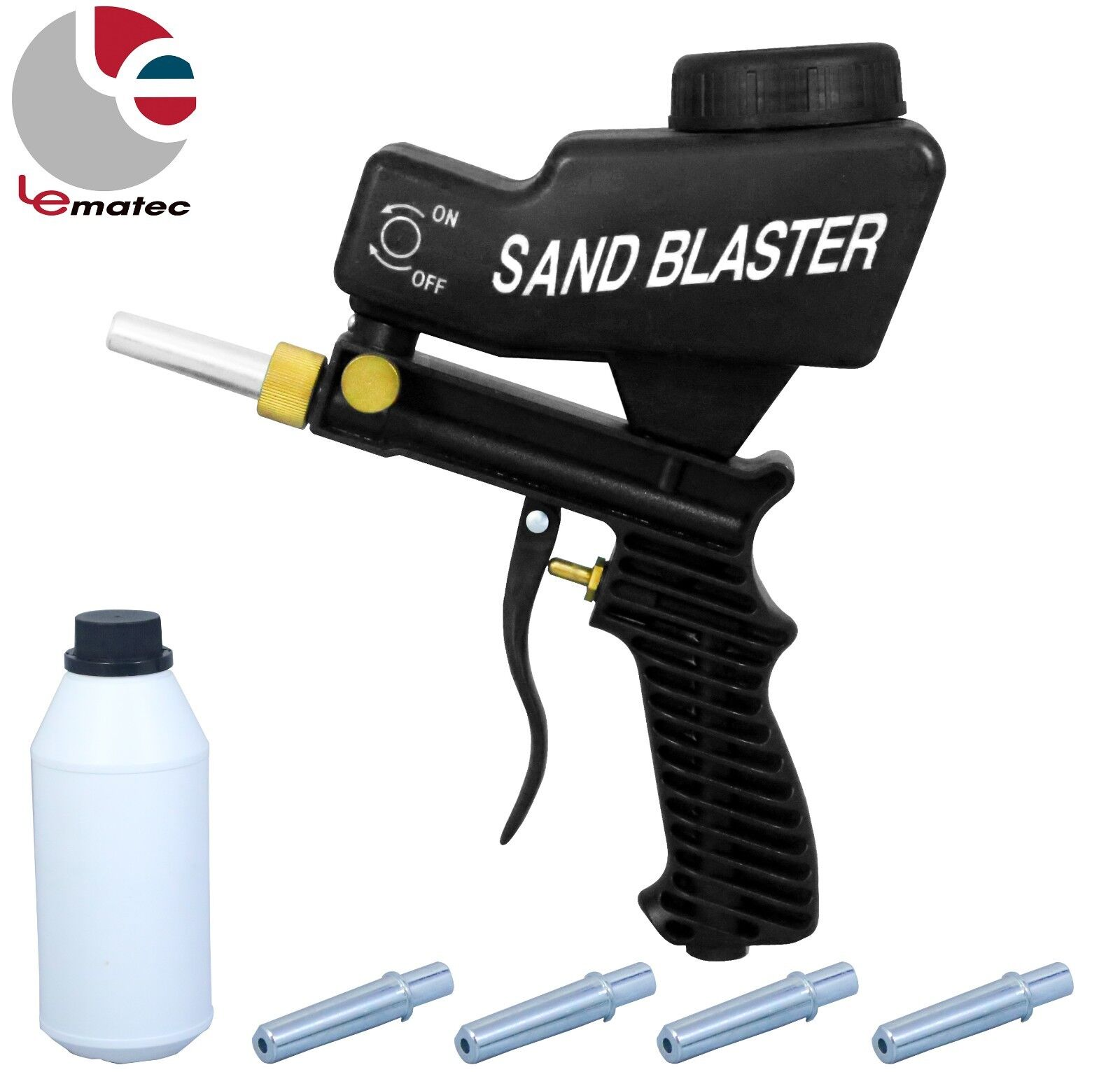 LEMATEC Sandblaster gun with Sand Canned four nozzle Air Power Sandblasting tool