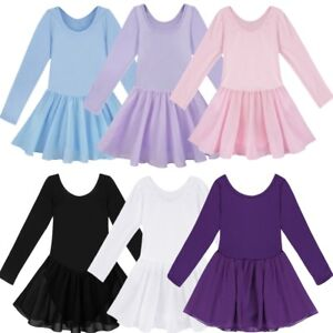 014494c4a US Kid Girl Long Sleeve Leotard Ballet Gymnastics Dance Dress ...