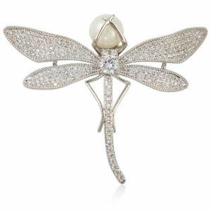 Classique Moderne Cristal Perle Libellule Broche Pin Fait Avec Swarovski Element-afficher Le Titre D'origine Fixation Des Prix En Fonction De La Qualité Des Produits