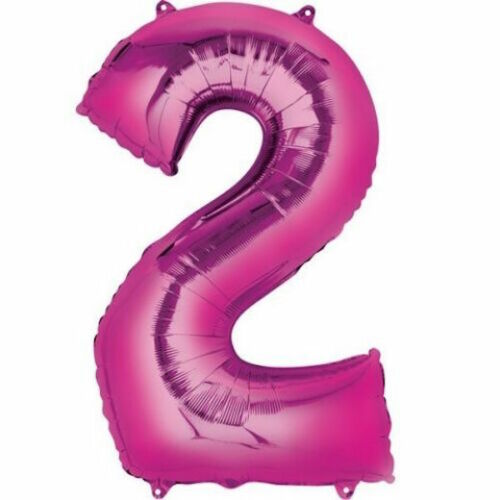 """16/"""" Hot Pink Number 2 Two Air Filled Foil Balloon 2nd Birthday Party Decoration"""