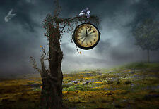 Framed Print - Clock Hanging from a Dead Tree (Picture Poster Gothic Art Birds)
