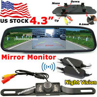 "Wireless Car Parking Rear View Kit 4.3"" LCD Monitor + IR Reversing Backup Camera"