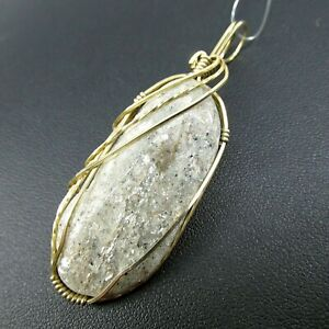 Muscovite 62 Carat 14k Gold Wire Wrap Oval Pendant Sliding Bale Made in USA