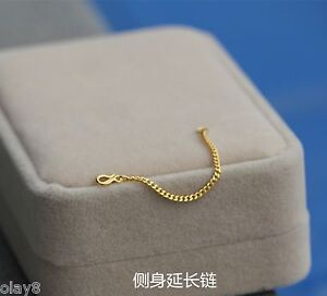 New-Solid-999-24K-Yellow-Gold-Curb-Chain-Extension-For-Necklace-Bracelet-2-9cm