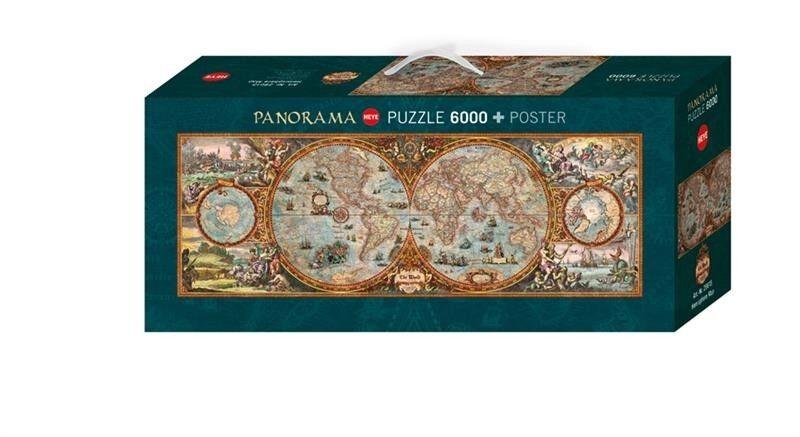 Heye Hémisphère Map Panorama Puzzle 6000 pièces Carte du monde avec poster 29615 | Excellente Qualité  | Mende  | Structurels élégantes  | à Prix Réduits