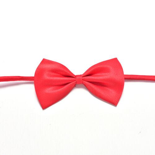 2x Boys Child Kids Solid Bowtie Pre Tied Wedding Party Satin Bow Ties Necktie YN