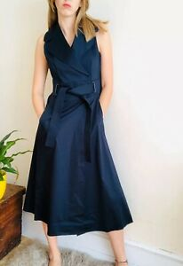 NEW-Karen-Millen-Navy-Blue-A-line-Midi-Maxi-Wrap-Dress-Uk-10-Belt-Pockets-Cotton