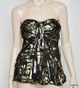 Nwt-248-2b-RYCH-Silk-Chiffon-Metallic-Jacquard-Dress-Party-Top-Black-Gold-8
