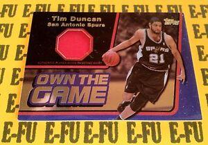 2006-07-Topps-TIM-DUNCAN-Game-Used-Spurs-Shooting-Shirt-Jersey-OTGR-TD-d-91-99