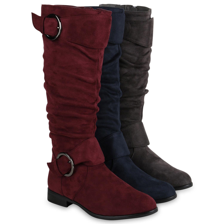 Klassische Damen Stiefel Veloursleder-O<wbr/>ptik Boots Leicht Gefüttert 819930 Schuhe