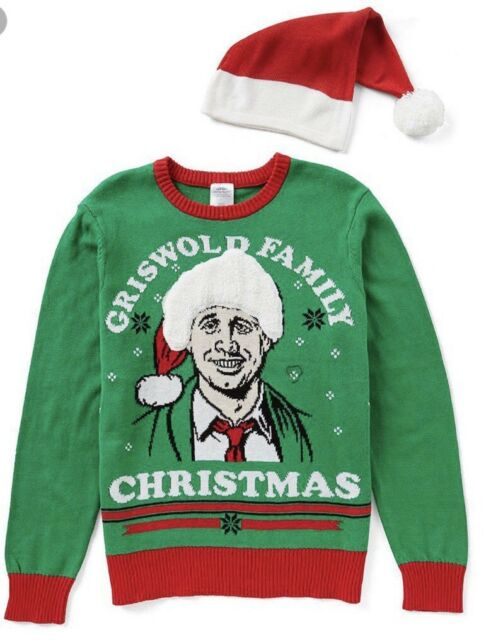 Christmas Vacation Sweaters.Nwt Griswold Family Green Ugly Christmas Vacation Sweater Men S S Red Hat
