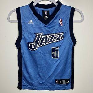 Details about Adidas Basketball Jersey Youth Boys Size S Blue Utah Jazz #5 Carlos Boozer