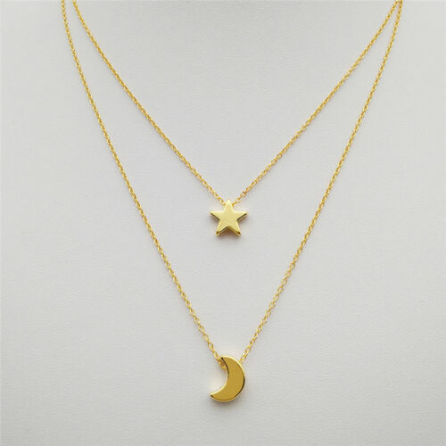 Womens Gold//Silver Plated Moon Star Fashion Bib Statement Chain Pendant Necklace