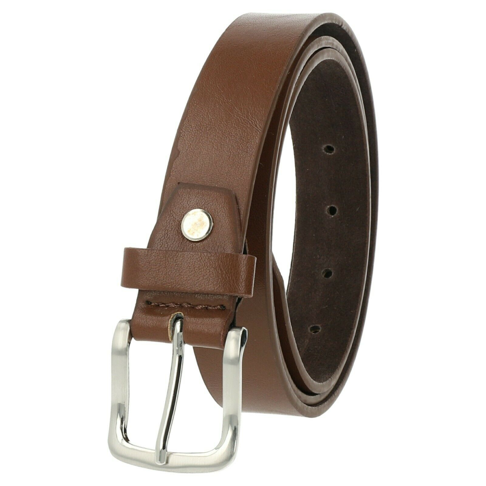 Belt WOMENS Mens Jeans Genuine Leather Wide 3 cm Buckle Can Be Shortened Brown New