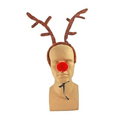 Reindeer Deer Antlers Costume Headpiece Red Nose  Rudolph CLOSEOUT FREE SHIP