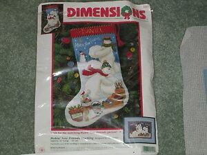 Dimensions MAKIN' NEW FRIENDS STOCKING NEEDLEPOINT KIT OPENED But NEW