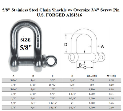 5//8 Stainless Steel Screw Pin Chain Shackle
