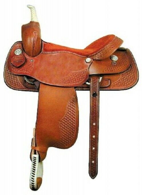 Western Tan Leather Hand Tooled Barrel Racer Saddle    14  15  16   low-key luxury connotation