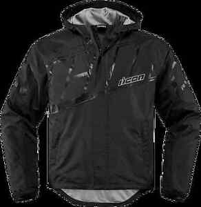 Mens-Icon-Black-PDX-2-Textile-Motorcycle-Riding-Waterproof-Rain-Street-Jacket