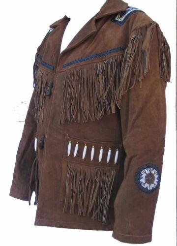Herren West Wulstig /& Fransen Wildleder Cowboy Indianer Jacke BrownTan144
