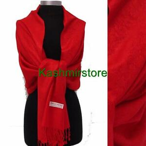 New Pashmina Paisley Floral Silk Wool Scarf Wrap Shawl Soft Classic Red
