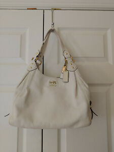 Women-Coach-Madison-Maggie-White-All-Leather-Shoulder-Bag-14336