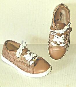 Cute Girl's Michael Kors  Size 3 Fashion sneakers Tan missing inital right shoe