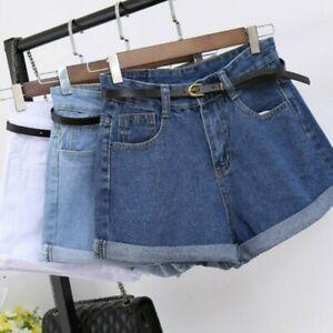Frauen Hohe Taille Denim Shorts Hose Locker Weites Bein Freizeit Kurzehose Jeans