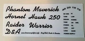 Details about D&A Linear Amplifier Restoration decals  Warrior,Phantom,Maverick,Raider,Hawk
