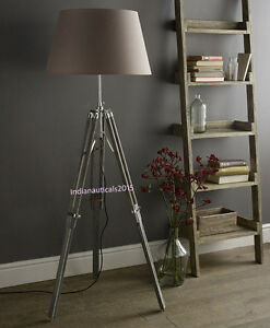 Vintage handmade classic vintage tripod floor shade lamp grey tripod image is loading vintage handmade classic vintage tripod floor shade lamp aloadofball Image collections