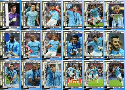 Manchester City 2014 ligue de football finale de la coupe gagnants Trading Cards