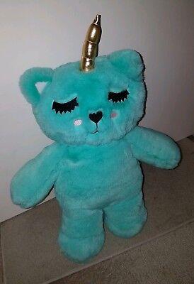 SEAFOAM $88 NWT Luv Betsey Johnson FLUF FURRY UNICORN TEDDY BEAR Backpack
