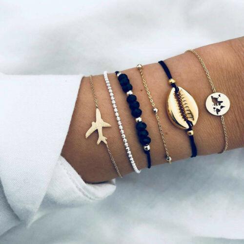 6Pcs Fashion Women Gold Shell Airplane Beads Hollow Map Bracelet Bangle Boho