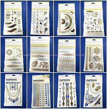 12 sheetsflash gold silver temporary tattoo sun moon star feather sealife